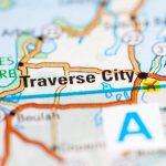 Close up of Traverse City on atlas